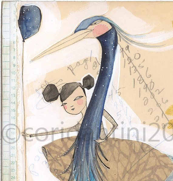 girl on heron limited edition print From here on out it's by corid, $20.00