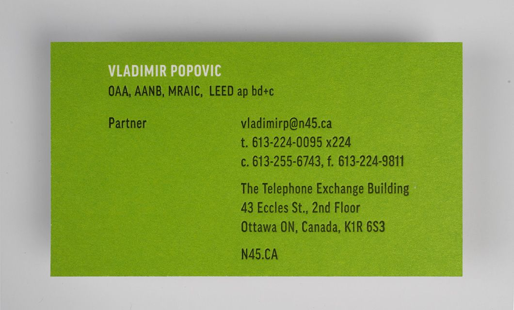 Letterpress cards for ottawas n45 architecture idapostle letterpress business card back for ottawas n45 architecture by graphic designer idapostle reheart Image collections