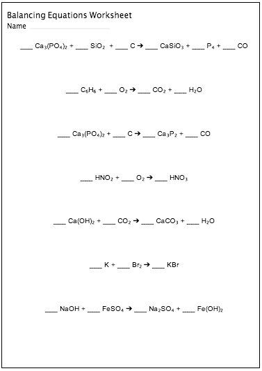 Balancing Chemical Equations Worksheet Maker  Customizable And