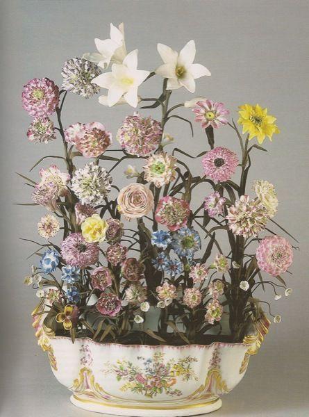 Sévres Porcelain (France) — Bowl of Porcelain Flowers, mid 18th century