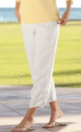 Washed-linen Ruched Cropped Pants, White, Medium Orvis. $39.00