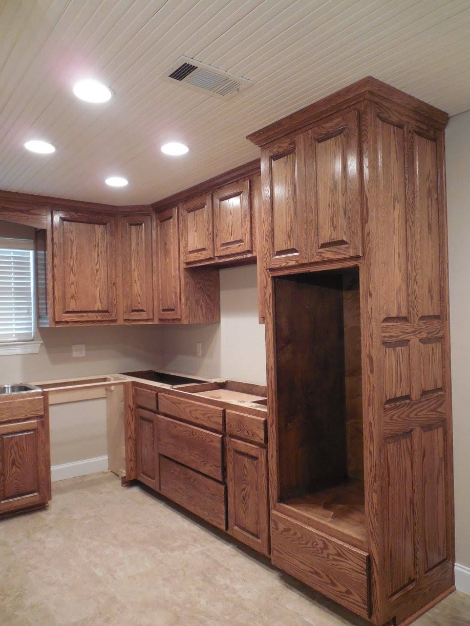Red Oak Raised Panels Minwax Provincial Stain Medium Rub Lacquer Stained Kitchen Cabinets Custom Kitchen Remodel Staining Cabinets