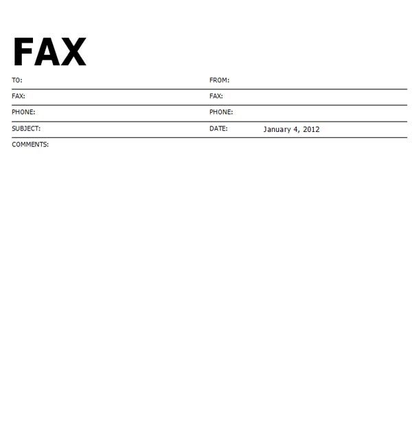 Standard Fax Cover Sheet  Fax Form Template Free
