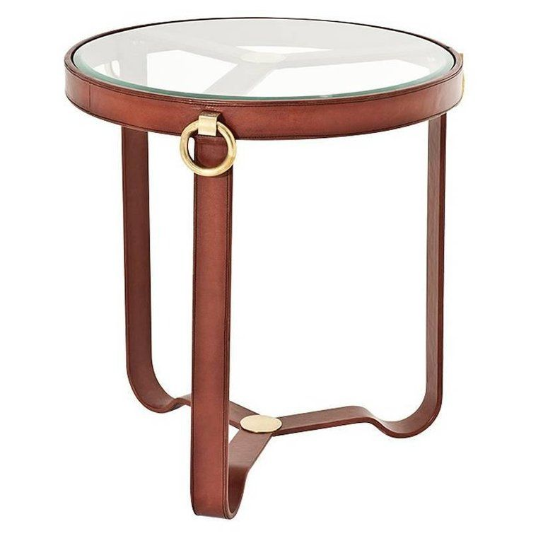 Leather Round Side Table With Antique Brass Finish Side Table