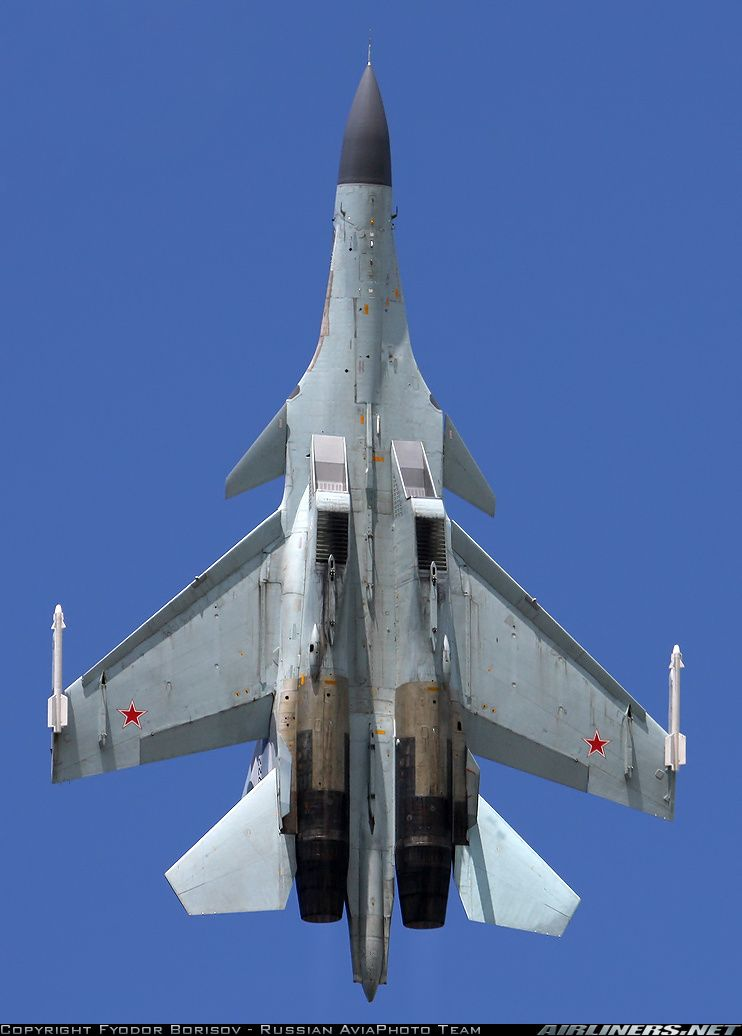 SU-30 MKI. Note the auxilliary air doors under the main air intakes.