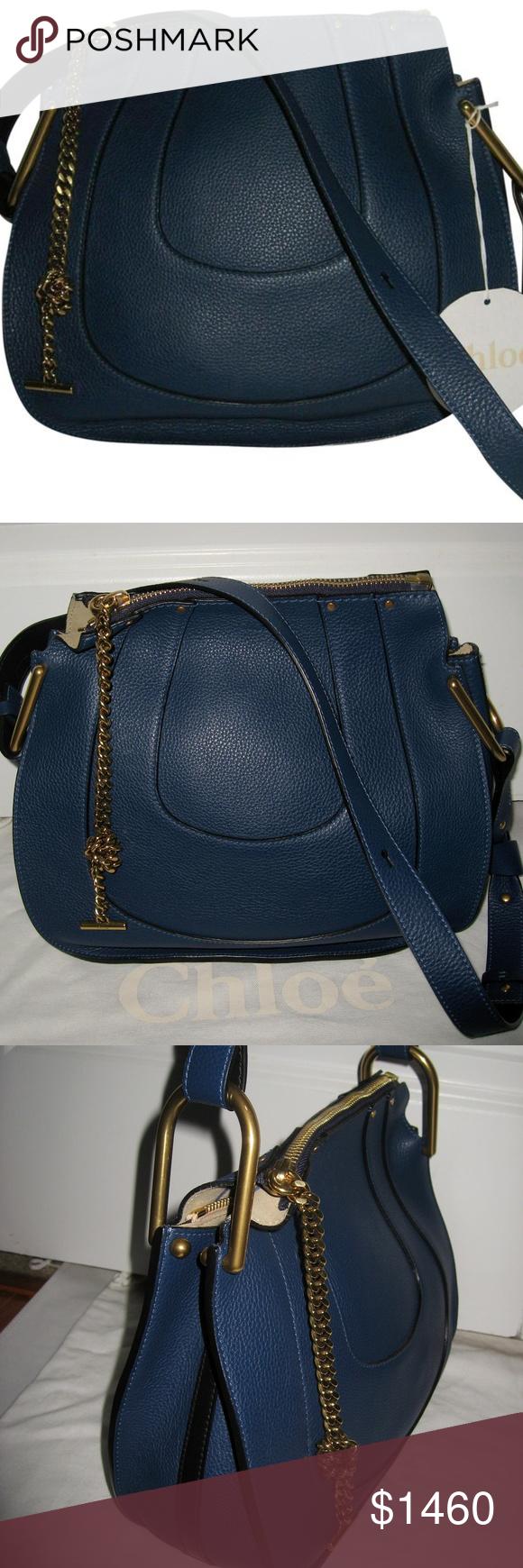 111fa4e615 Chloé Royal Navy Leather Hayley Shoulder Bag Authentic NWT Chloe Hayley  Medium shoulder bag in leather
