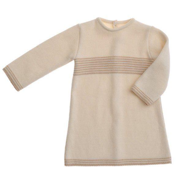 NaturaPura Organic Cotton Baby Dress, Knitted Bicolor Stripes