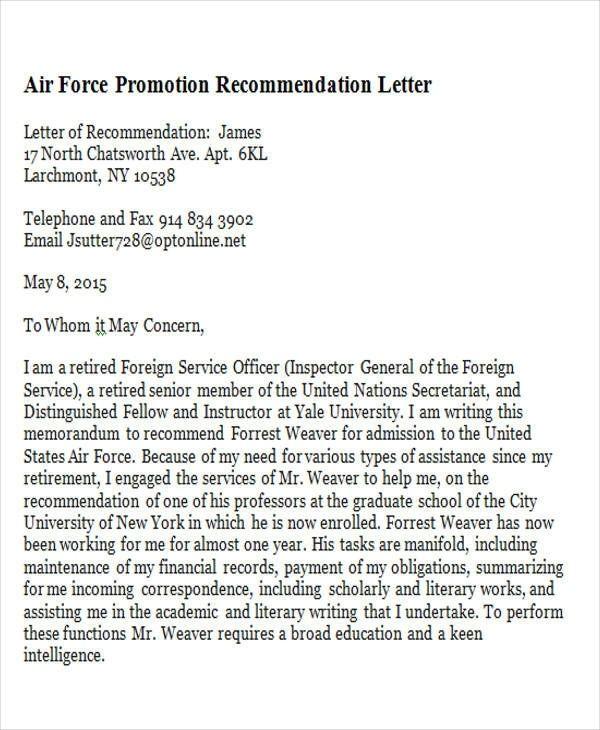 Sample Promotion Recommendation Letter