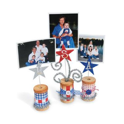 USA/4th of July Photo Holders:  Three (3) large wooden spools decorated with your choice of items and what-nots