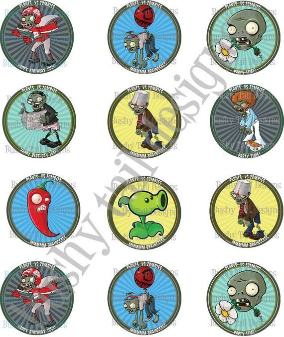 Plants Vs Zombies Birthday Cupcake Toppers Customized Products In
