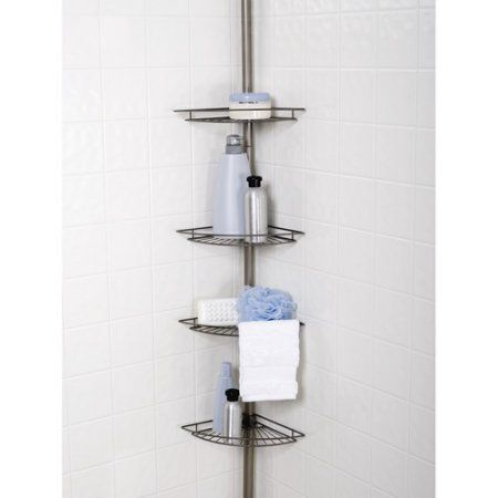 Buy Zenith 4 Shelf Tension Caddy Satin Nickel At Walmart Com Corner Shower Caddy Simple Bathroom Shelves