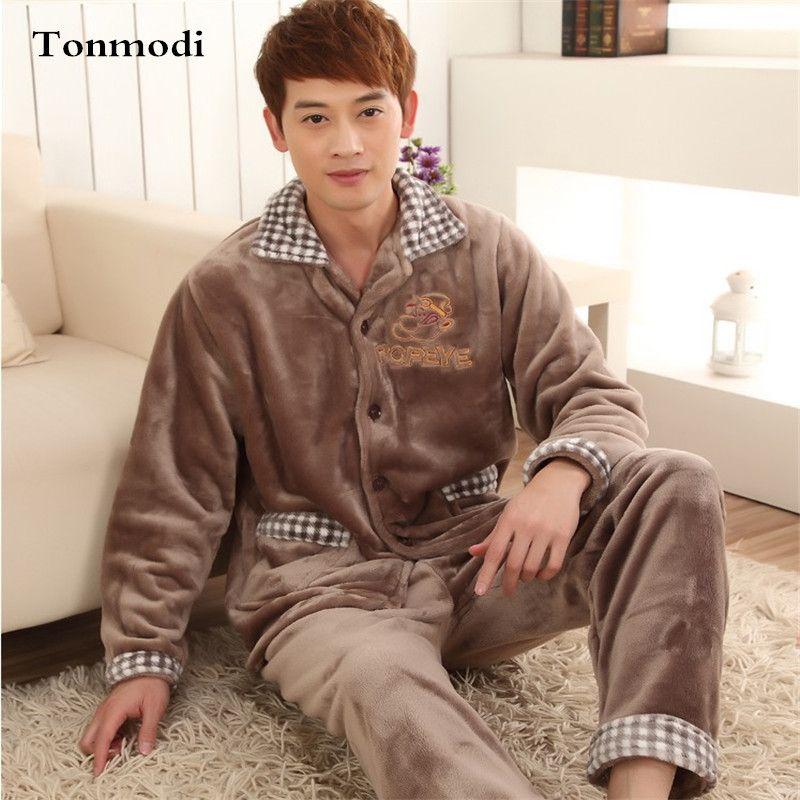 Pajamas For Men Winter Sleepwear Flannel Thickening Men Pyjamas Men s Sleep Lounge  Pajama Sets Plus Size 0af8512a2