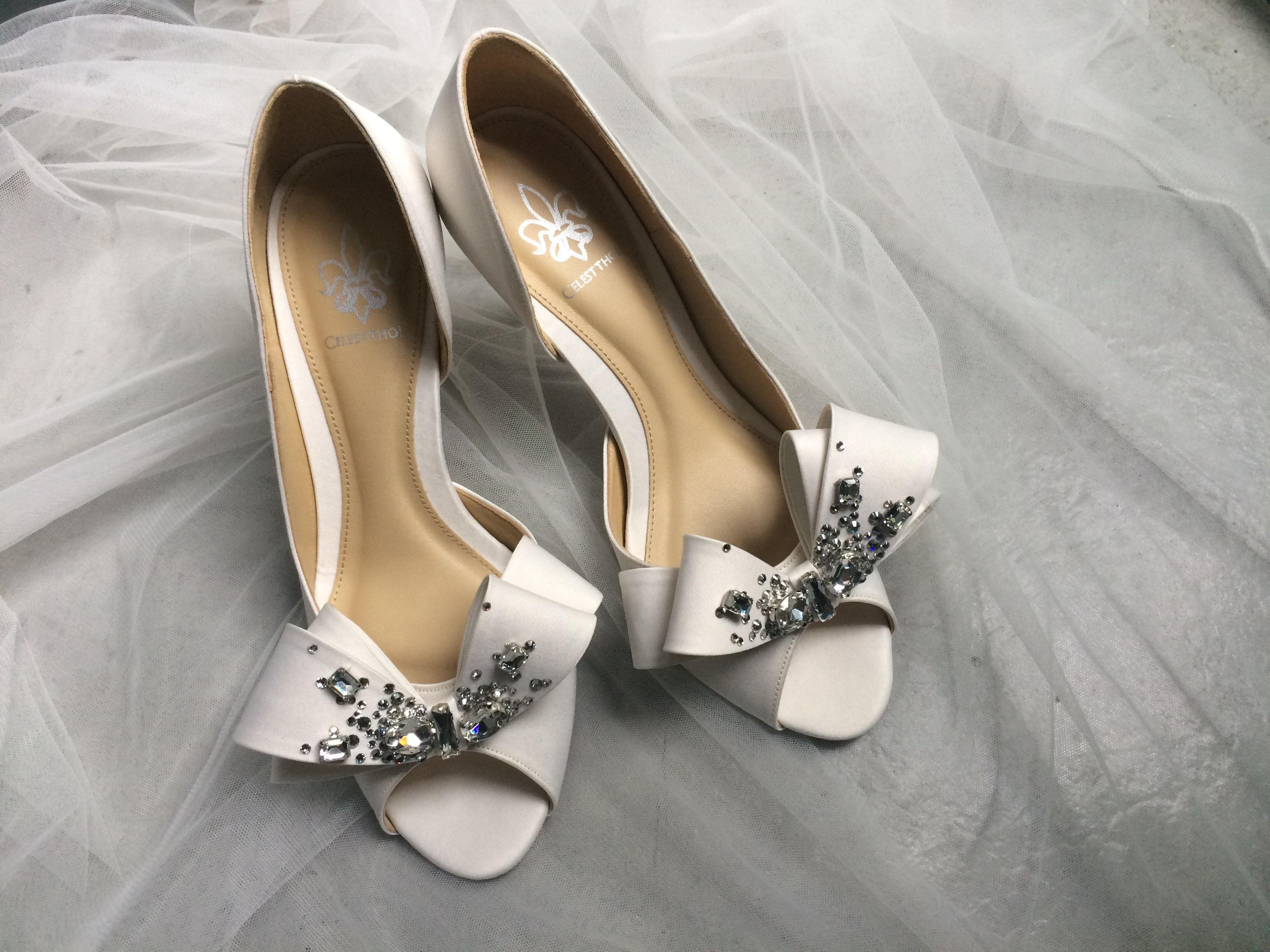 Celest Thoi bespoke wedding shoes with Swarovski crystal