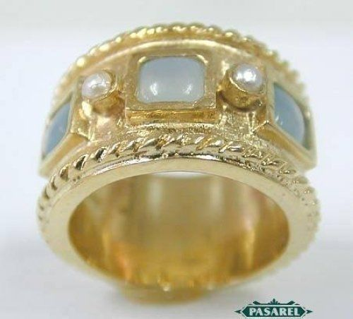 New 14k Yellow Gold Pearl & Chalcedony Ring #BillyShmerlingSender #ThreeStone