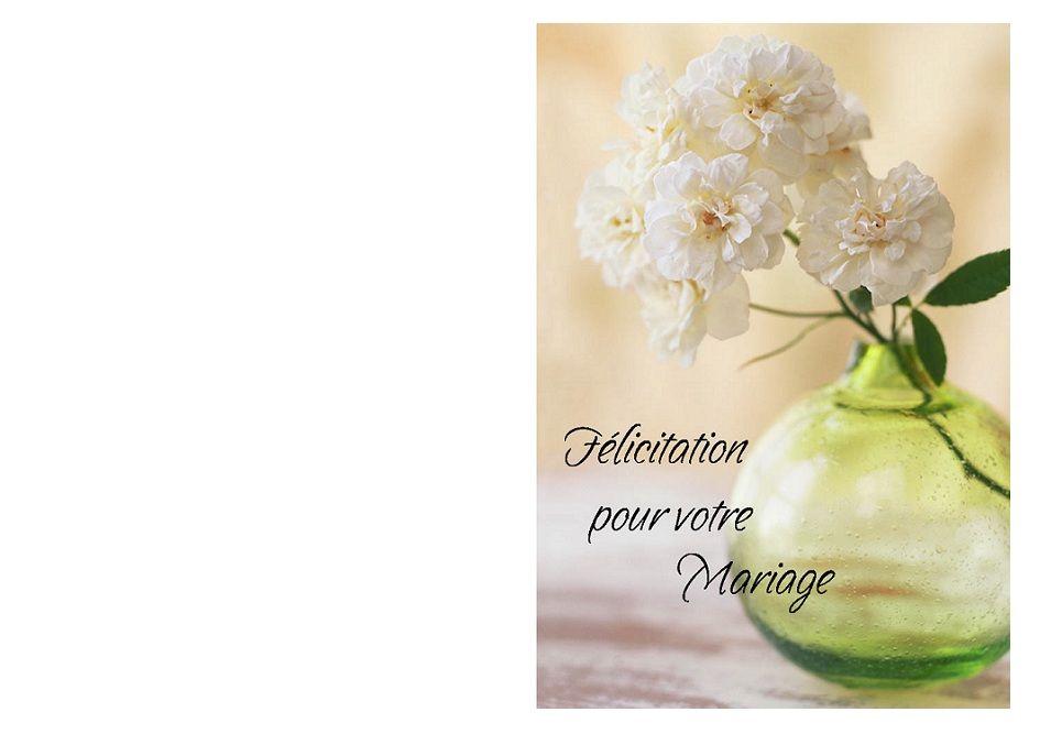 Jolie Carte Felicitations De Mariage A Imprimer Avec Des Fleurs