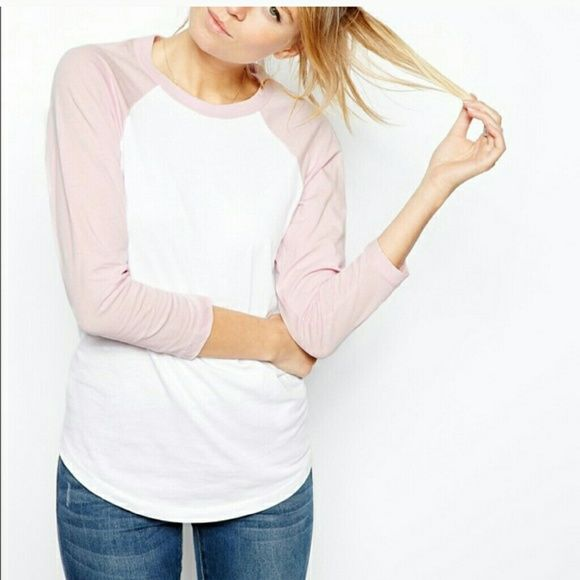 ASOS pink and white baseball tee Never worn ASOS Tops Tees - Short Sleeve
