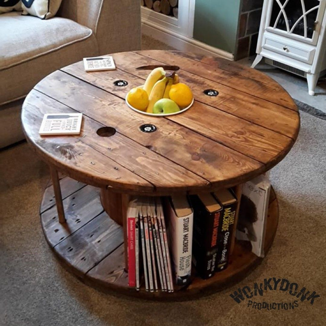 Upcycled Coffee Table With Integrated Bookcase Table Coffee Table Pallet Table [ 1080 x 1080 Pixel ]