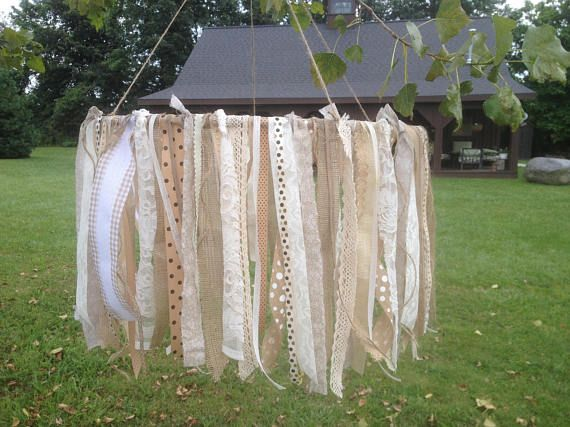 Burlap and Lace Fabric Chandeliers Rustic Shabby Chic #kronleuchterselbstbauen