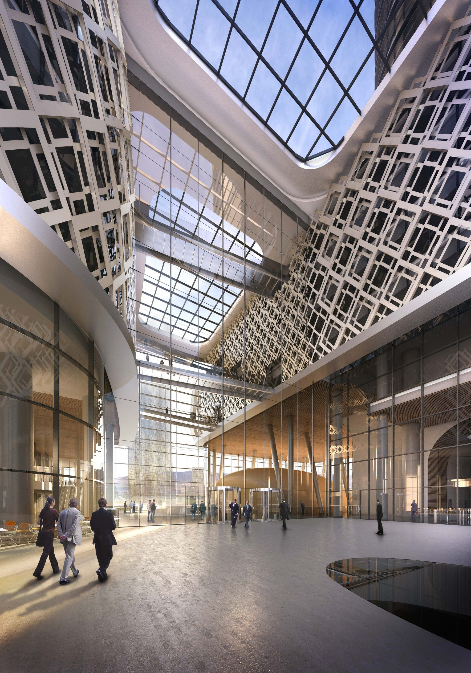 Gallery Of Ziraat Bank Headquarters Kpf 4 Architecture Visualization 3d Architectural Visualization Architecture Design