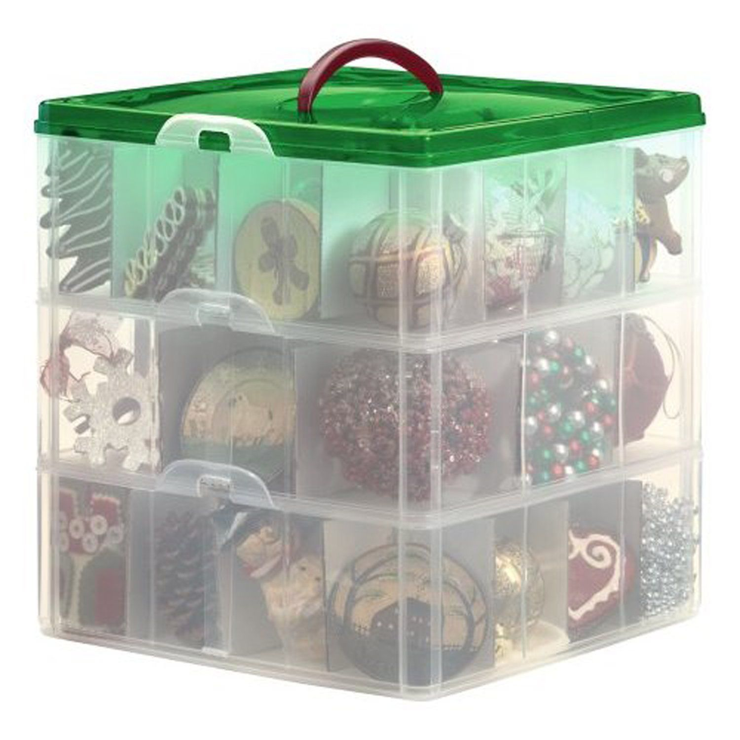 Amazon.com   Snapware / Paksh Christmas Plastic Ornament Storage Container  / 3 Stackable Snap