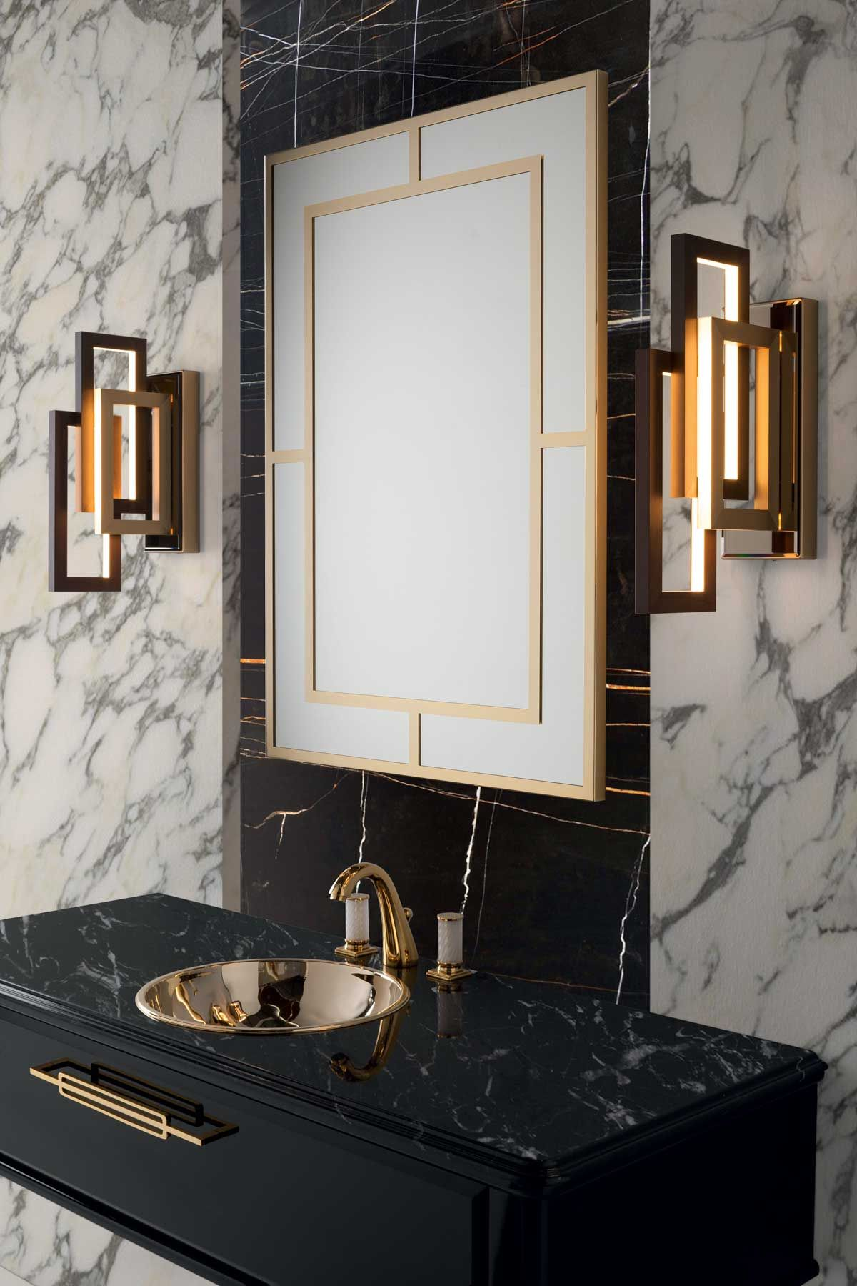 See All Our Stylish Art Deco Bathrooms Design Ideas. Art Deco Inspired  Black And White Design.