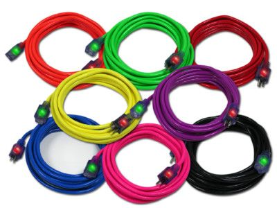 25ft 14 Gauge Extension Cord 6 Neon Jacket Colors Cords On Ebay Color Cord Extensions