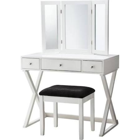 Vanity Set: Linon X-Base Vanity Set - White