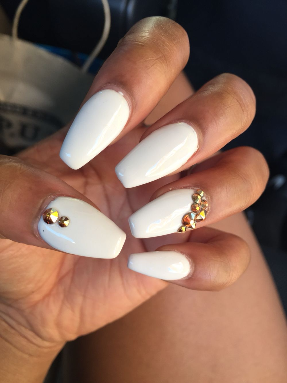 White Acrylic Coffin Nails With Gold Jewels Gold Nails White Nails Nails