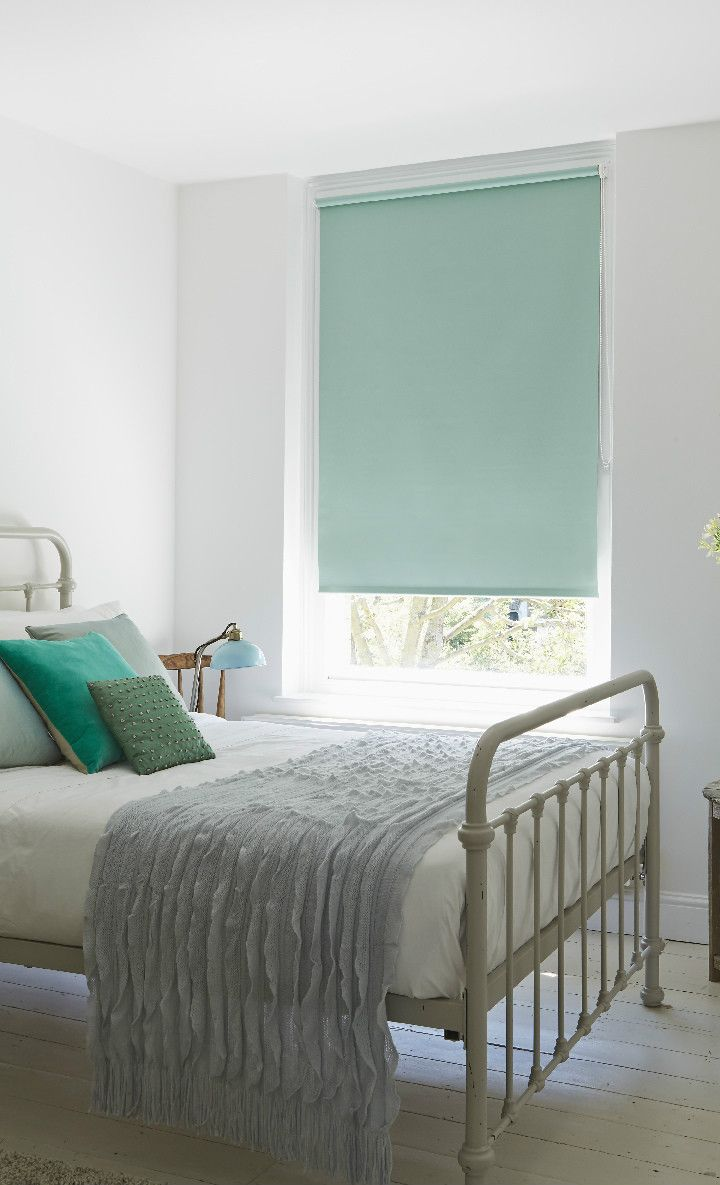 Mint green shades with white and greys will create a calming
