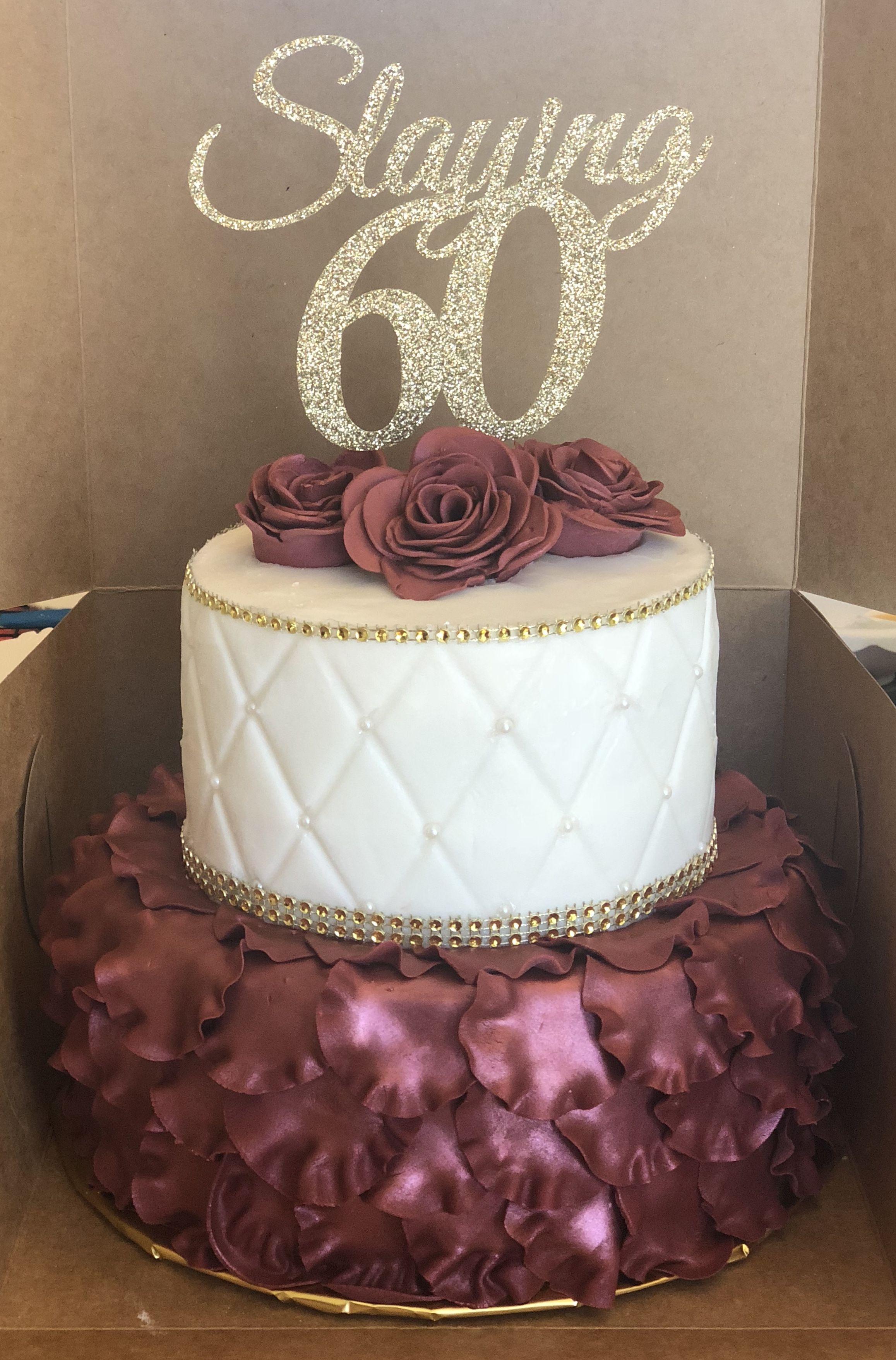 Burgundy Ruffles With Gold Bling 60th Birthday 90th Birthday