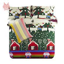 3 Colors елки / мультфильм печать пододеяльник утешитель комплект для детей постельного белья для рождественский подарок королева SP2654(China (Mainland))