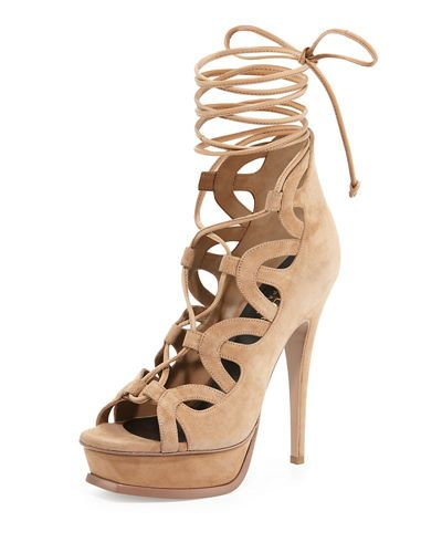 890e85bab0db Not my usual style but I kinda love these! Saint Laurent Suede Platform  Lace-Up Cage Sandal  995.00
