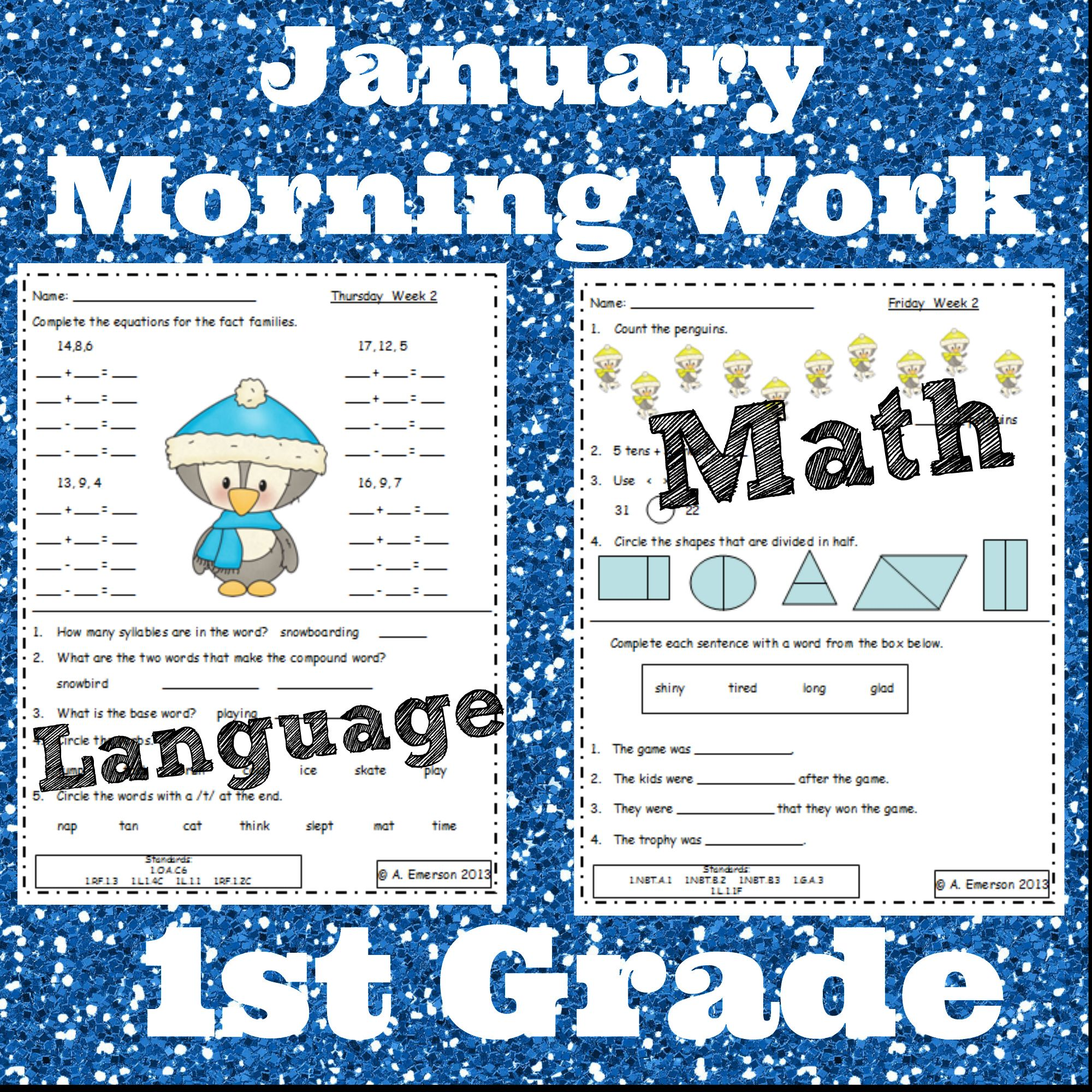 January Morning Work First Grade Common Core Standards | Morning ...