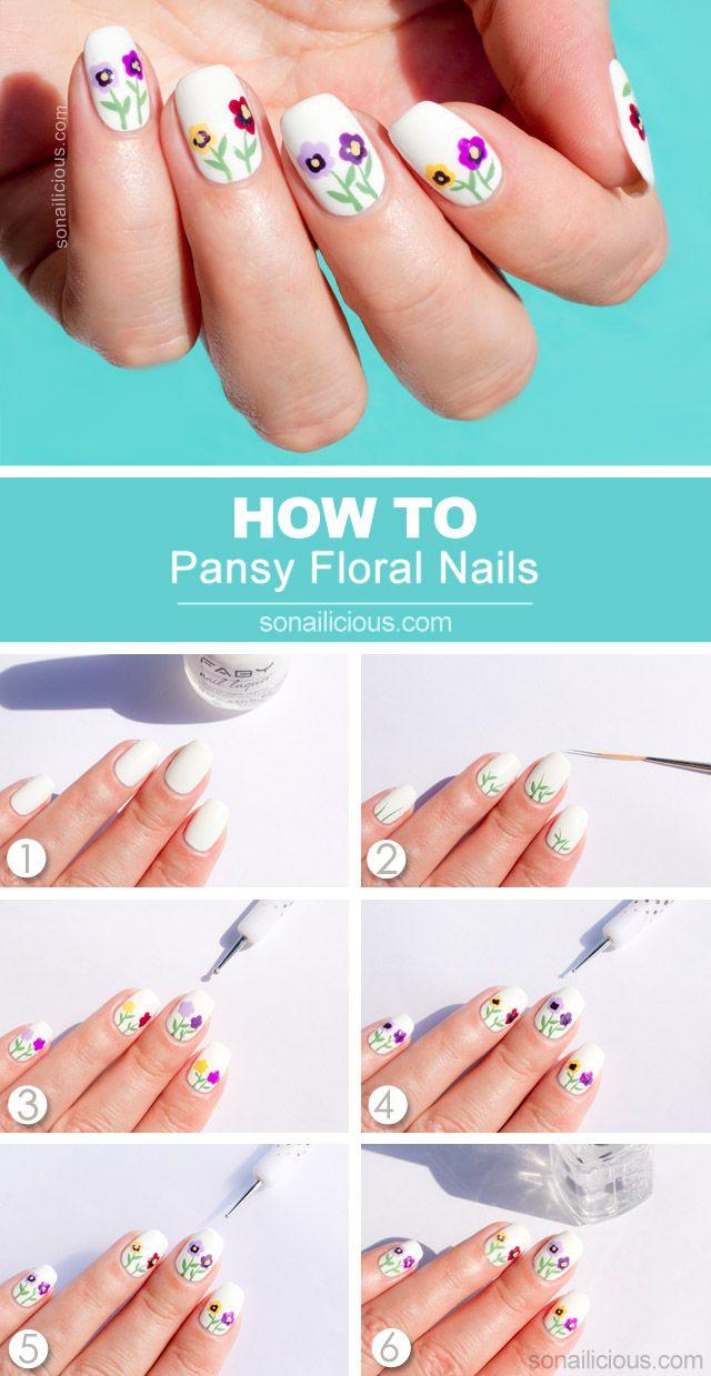 Siberian Pansy Flower Nail Art Tutorial Nail Art Tutorial Flower Nails Pop Art Nails