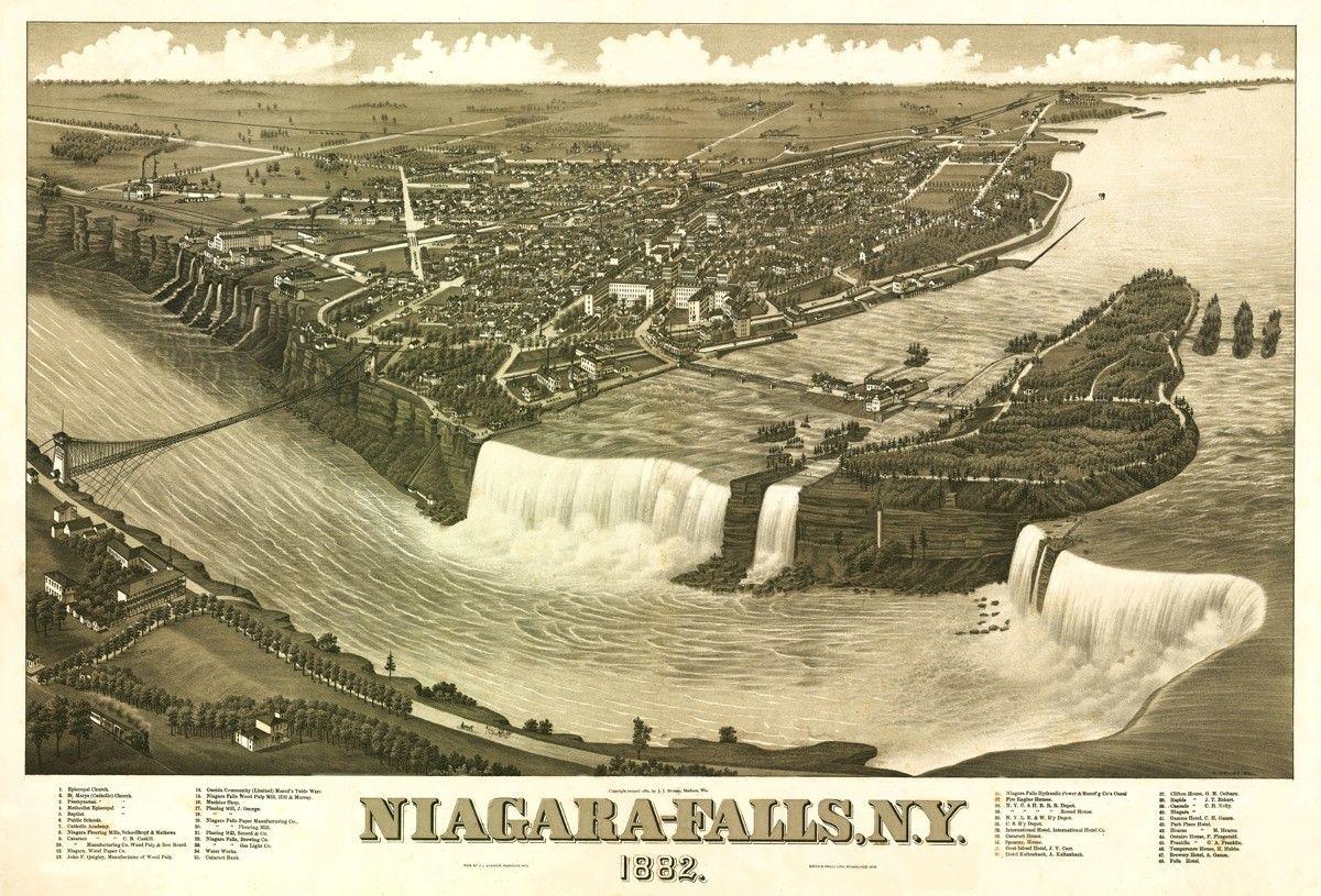 Niagara Falls The Cataract City Vintage Zeichnung See
