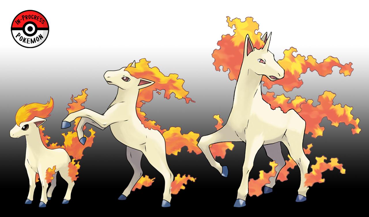 In Progress Pokemon Evolutions 077 5 Ponyta Are Very Weak At Birth Flameless Pokemon Fire Type Pokemon Pokemon Breeds