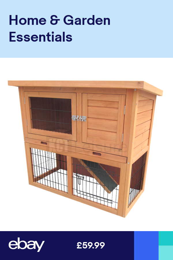 3ft Outdoor Rabbit Hutch And Run With 2 Two Tier Wooden Guinea Pig