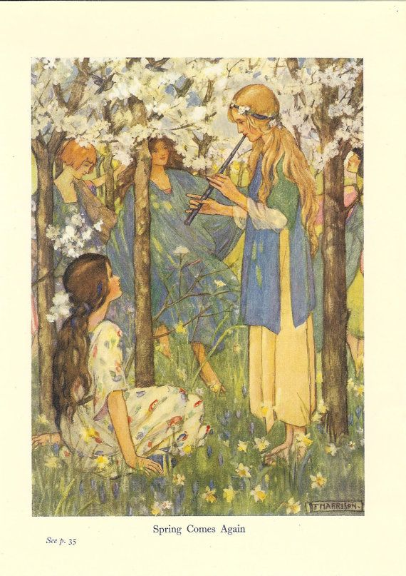 Vintage 1920s art nouveau print by Florence Harrison Spring Comes Again. The print was retrieved from the 1922 edition of Blackies Girls