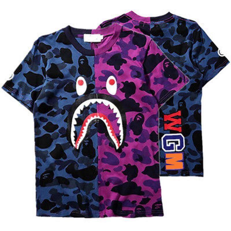 BAPE A BATHING APE Camo T-shirt Crew Neck Shark Head T Shirt Tops Mens Basic TEE