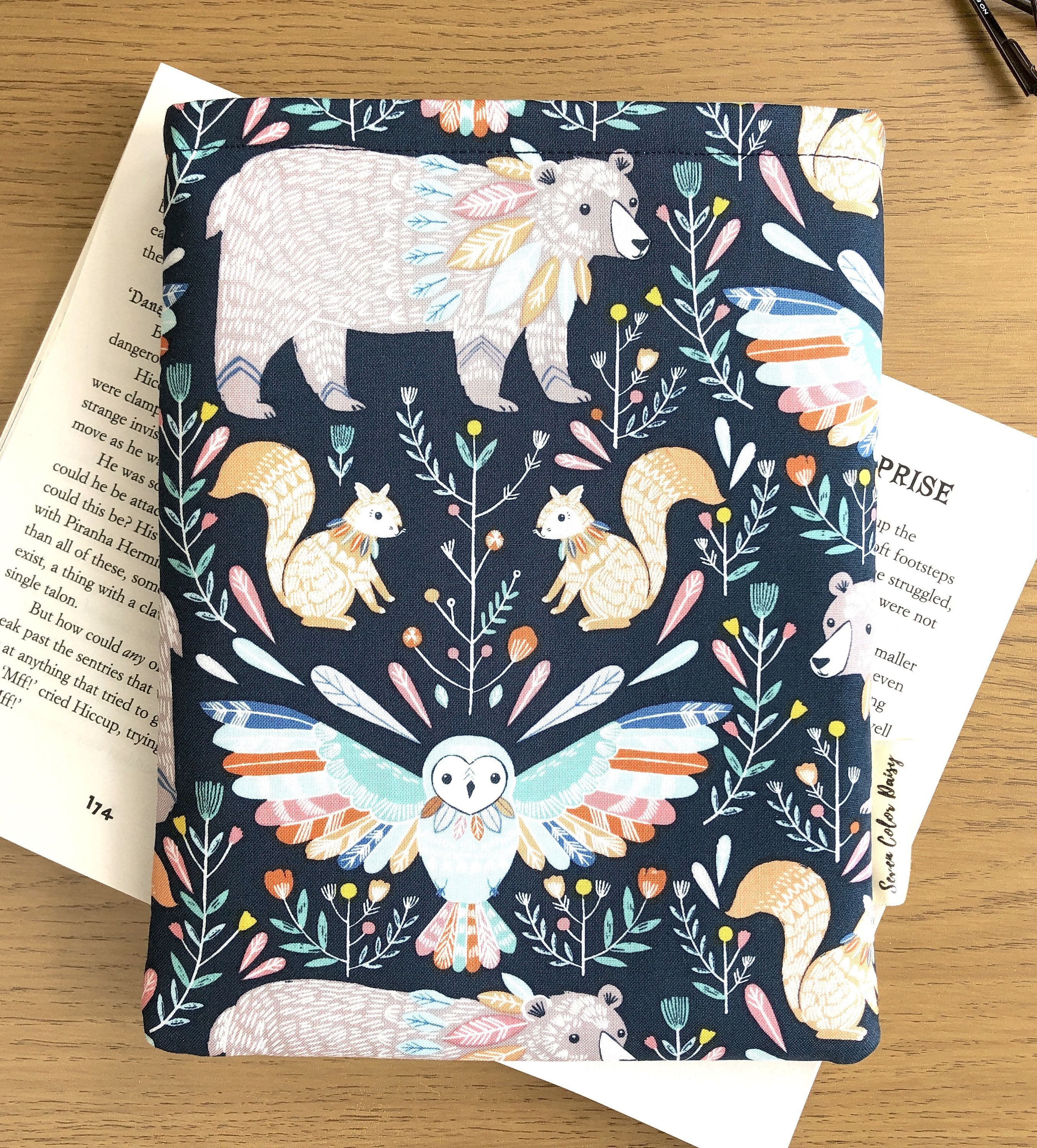Boho Animals Book Sleeve / Bookish Birthday Gift / Paperback Book Cover / Book Lover gift