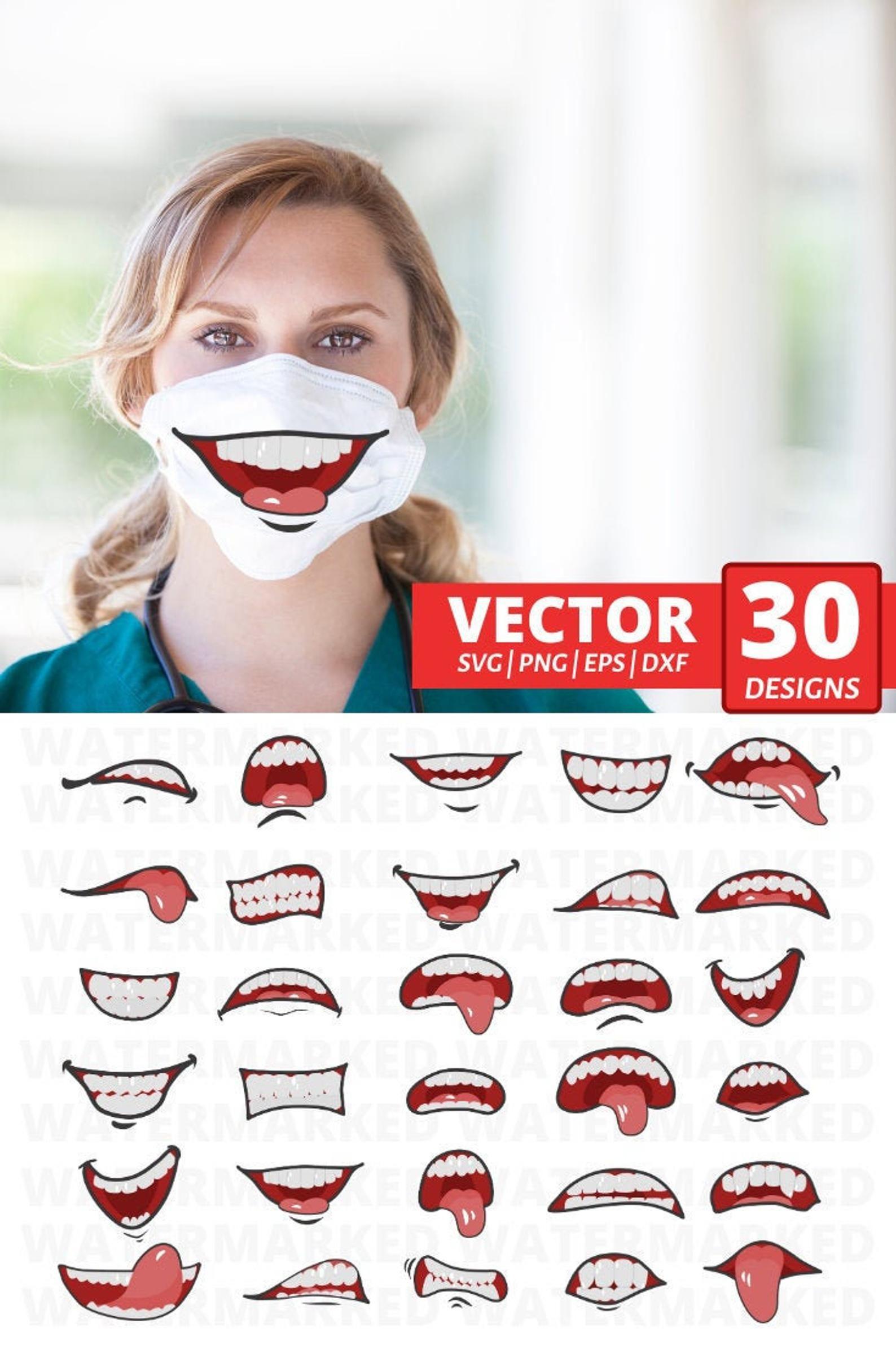 30 MOUTHS FACE MASK svg patterns face mask pattern bundle