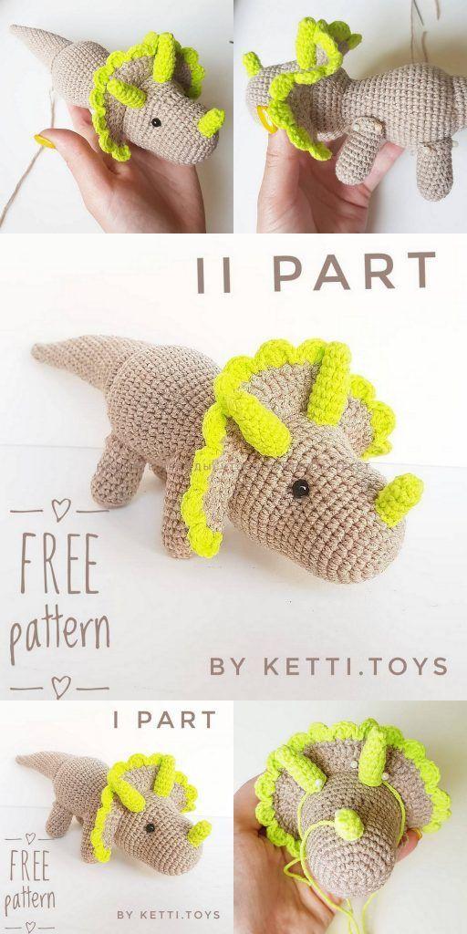 Amigurumi Triceratops Dinosaur Free Crochet Patter... - #Amigurumi #Crochet #Dinosaur #Free #Patter #pattern #Triceratops #amigurumicrochet