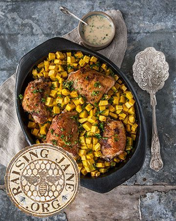 Today S Recipe Roasted Chicken Buttercup Squash W Herbed Honey