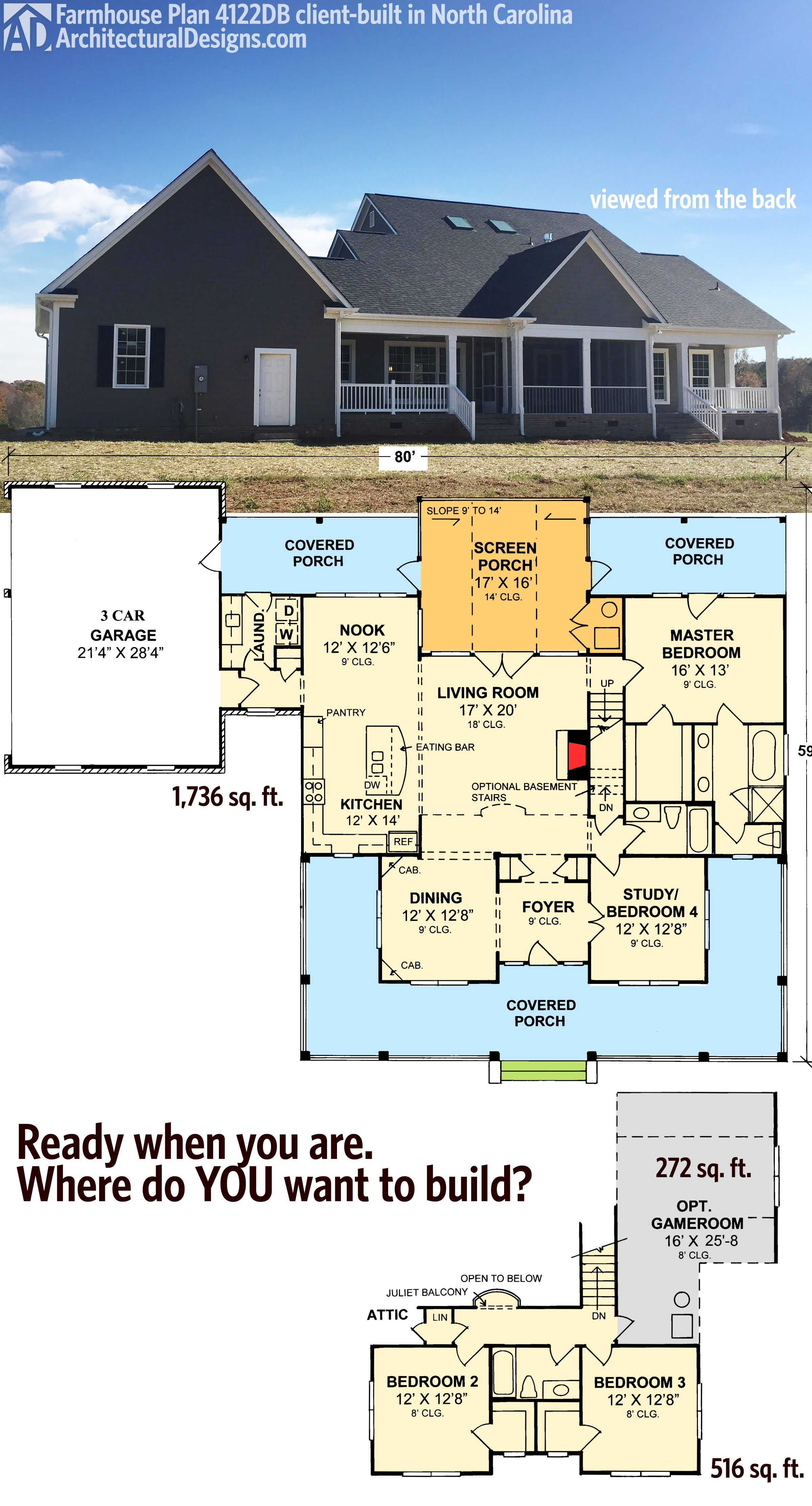 Plan 4122WM: Country Home Plan With Marvelous Porches | Farmhouse ...