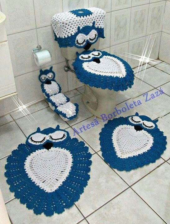 Jogo De Banheiro Azul Em Croche : Coruja azul dormindo jogo de banheiro