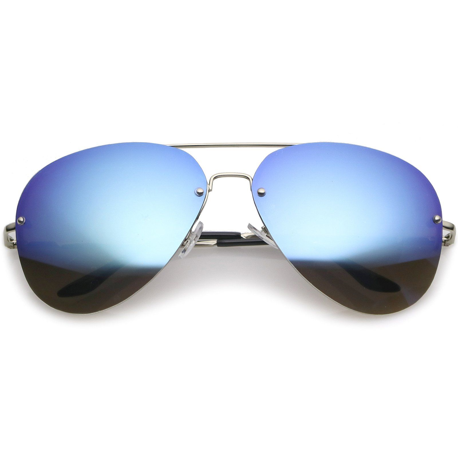 6247aafe96c8f zeroUV Oversize Crossbar Metal Slim Arms Teardrop Mirrored Lens Rimless Aviator  Sunglasses 65mm Silver Blue Mirror     Click on the image for additional ...