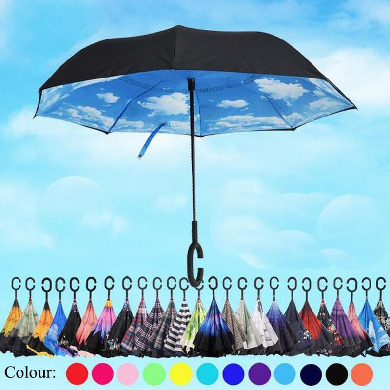 방풍 역 접이식 더블 레이어 반전 Chuva 우산 자기 스탠드 안에 비 보호 C 후크 역 우산 467