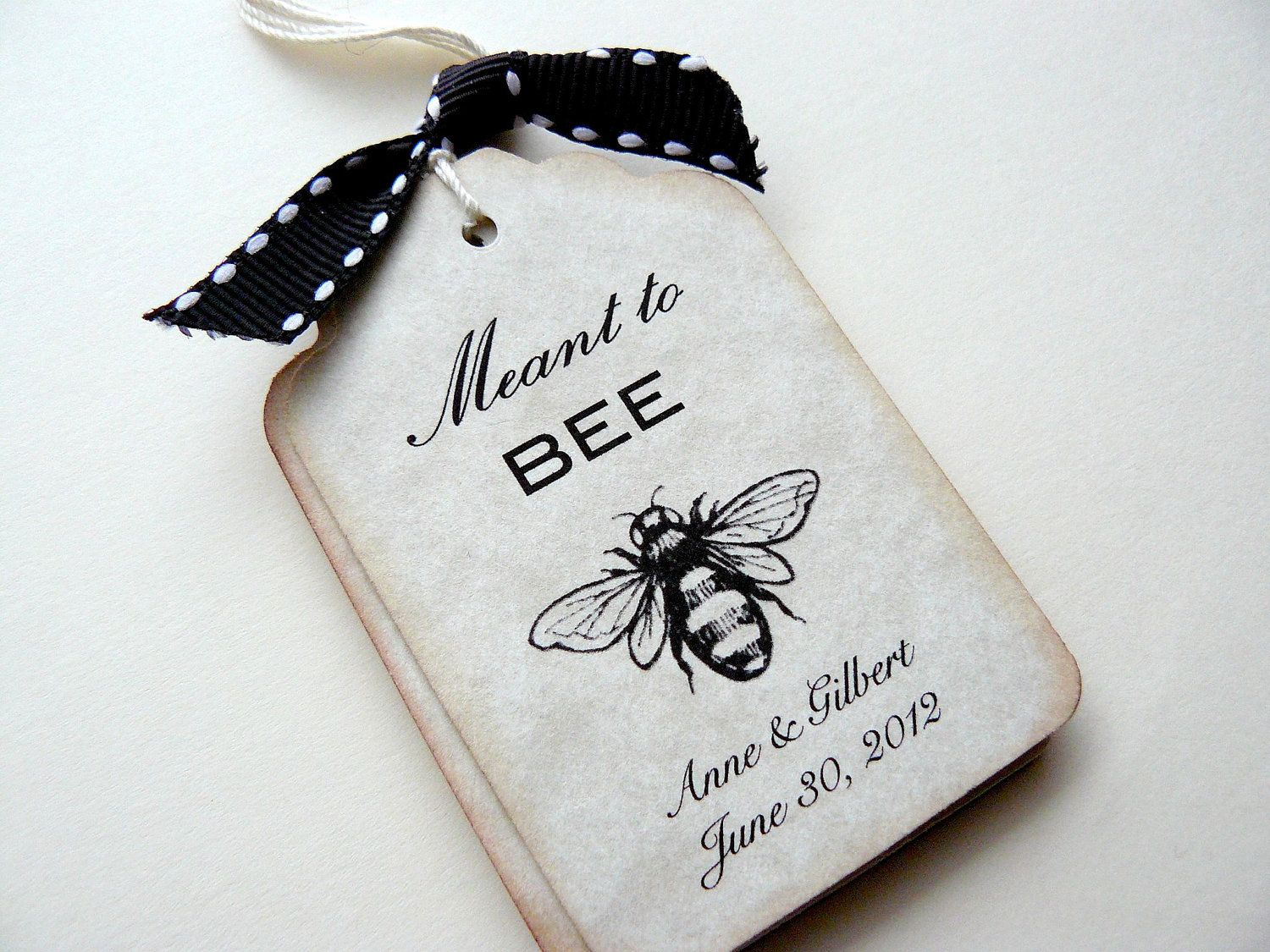 25 Custom Wedding Tags, Favors - Meant to Bee - Honey Favors ...
