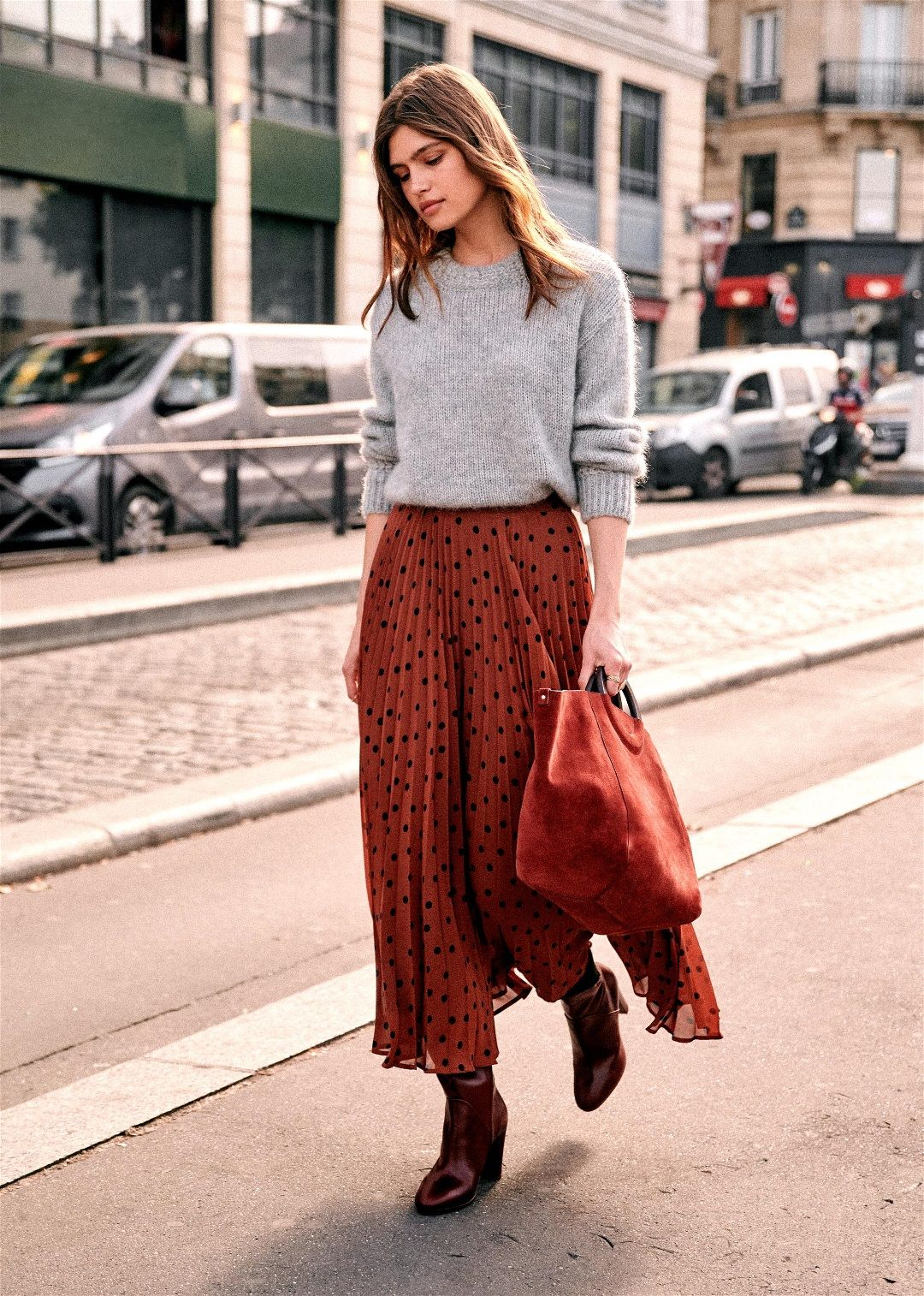 Grey Chunky Knit Sweater and Polka Dot Pleated Mid