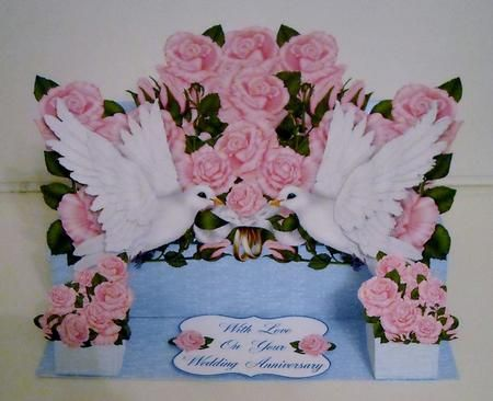 White doves pink roses 3d pop up wedding or anniversary card on